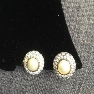 Jewelry - Rhinestone and Pearly Vintage Clip Earrings